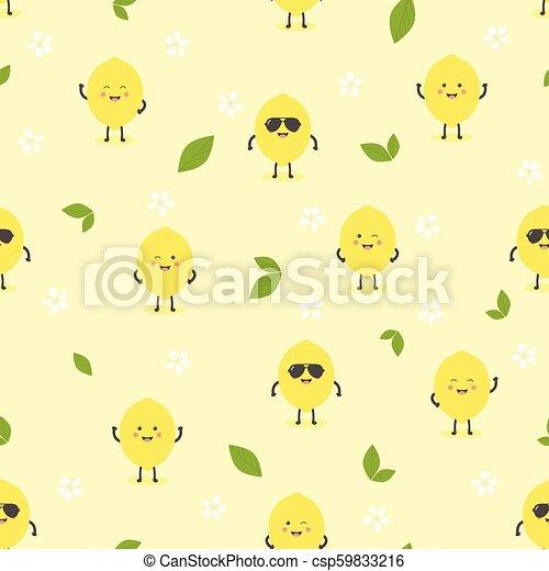 Pattern With Cartoon Lemon