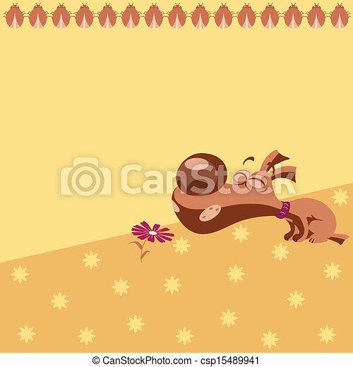Pattern with cartoon puppy - csp15489941
