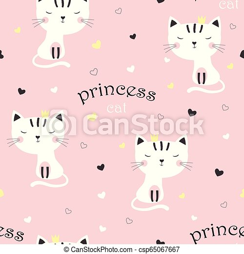 Pattern With Cute Princess Cat Pattern With Cartoon Sweet Cat Girl In Crown On Pink Background With Multicolor Hearts