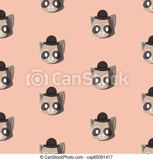 Pattern with doodle raccoons face. - csp65091417
