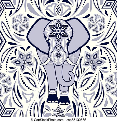 Pattern with elephant - csp68130655