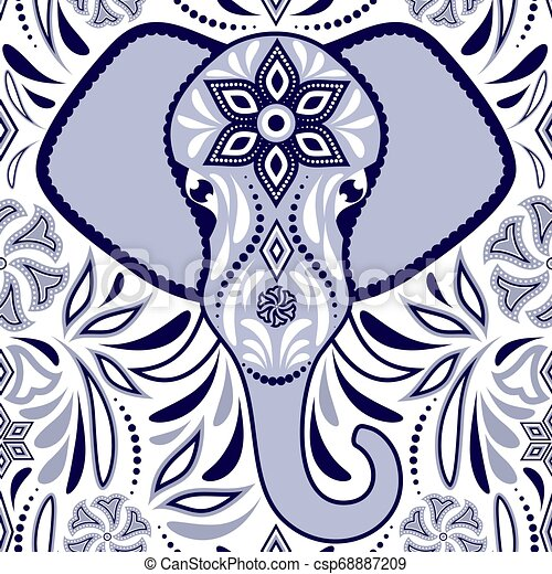 Pattern with elephant - csp68887209