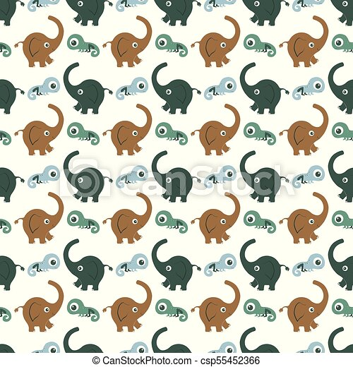 pattern with elephants - csp55452366