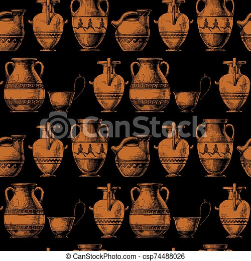 Pattern With Greek Vases Seamless Pattern With Ancient Greek Vases Vector Illustration In Vintage Engraved Style Types Of Canstock