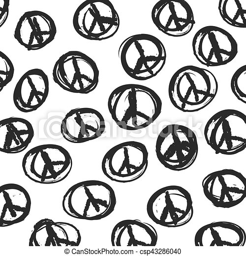pattern with hand drawn hippie peace symbol, vector background - csp43286040