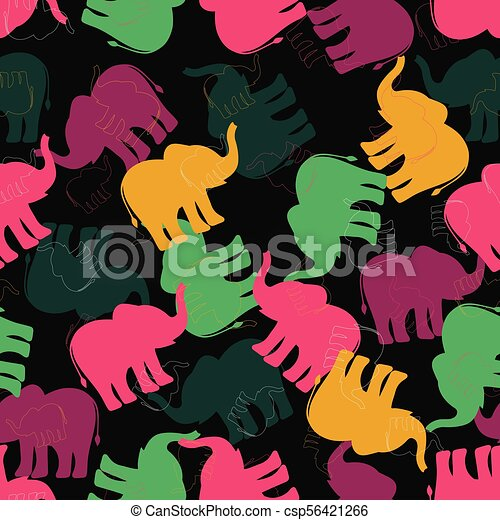 pattern with multicolored elephants - csp56421266