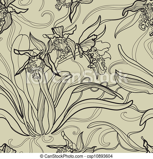 Pattern with orchid flowers - csp10893604