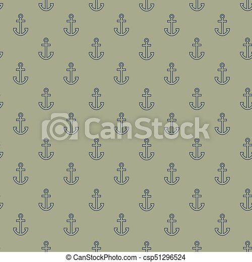 Pattern with outline anchors on khaki background - csp51296524