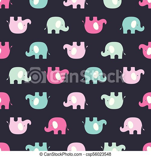 pattern with pink and blue elephants - csp56023548