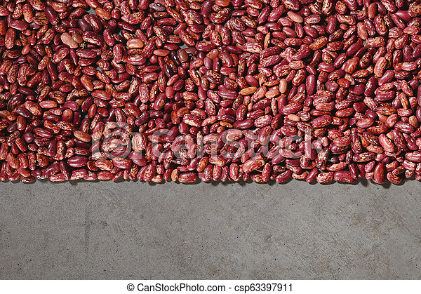 Pattern with red beans on grey background. - csp63397911