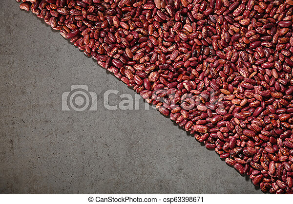 Pattern with red beans on grey background. - csp63398671