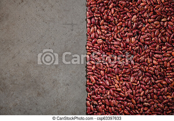 Pattern with red beans on grey background. - csp63397633