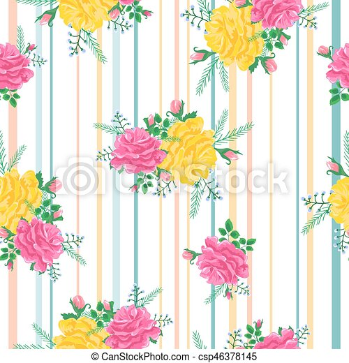 Beautiful Seamless Pattern With Pink And Yellow Roses On A Striped BackgroundVector Illustration In The Style Of Shabby ChicPrint For Book Covers