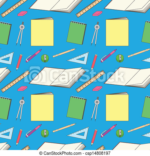 pattern with school stationery - csp14808197