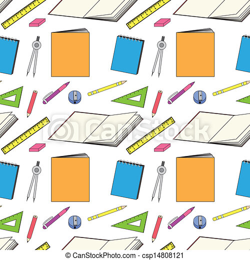 pattern with school stationery - csp14808121