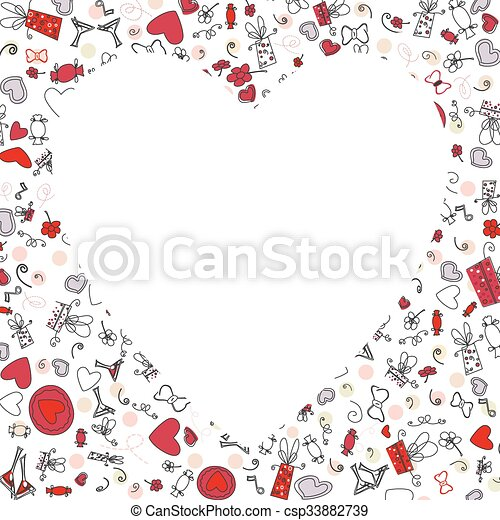 Pattern with valentine hearts, sketch drawing for your design - csp33882739