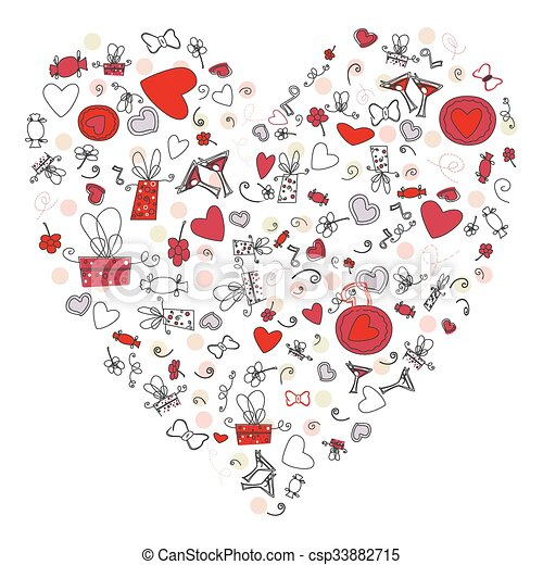 Pattern with valentine hearts, sketch drawing for your design - csp33882715