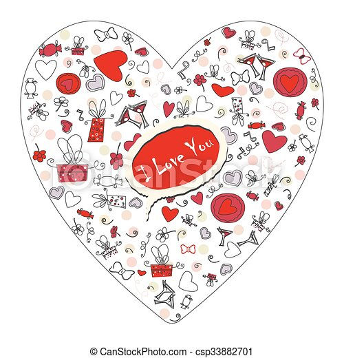 Pattern with valentine hearts, sketch drawing for your design - csp33882701