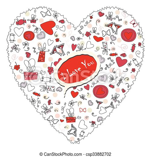 Pattern with valentine hearts, sketch drawing for your design - csp33882702