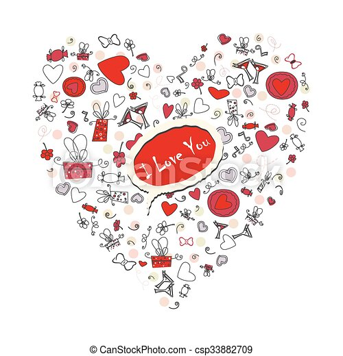 Pattern with valentine hearts, sketch drawing for your design - csp33882709