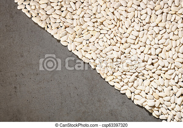Pattern with white beans on grey background. - csp63397320