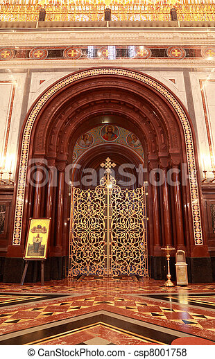 Patterned Gilt Door In Arch Inside Cathedral Of Christ The Saviour In Moscow Russia