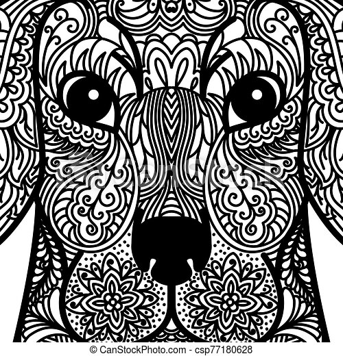 - Patterned Head Of Dog. Tattoo Design. Coloring Page. It May Be Used For  Design Of A T-shirt, Bag, Postcard, A Poster And So