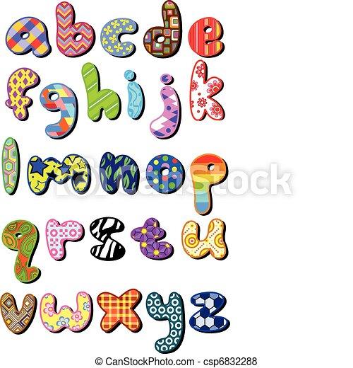 Patterned lower case alphabet - csp6832288