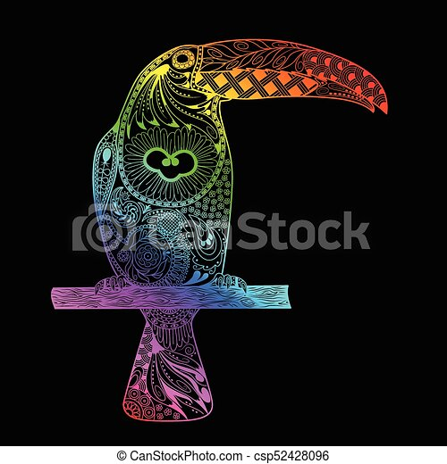 Patterned toucan drawing. Hand Drawn doodle toucan. Rainbow gradient toucan - csp52428096