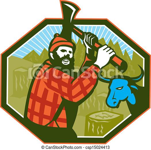 paul bunyan lumberjack axe blue ox illustration of paul vector rh canstockphoto com