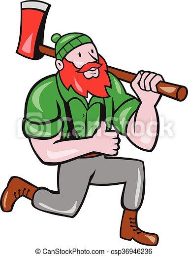 paul bunyan lumberjack axe kneeling cartoon illustration of rh canstockphoto com  paul bunyan and babe clipart