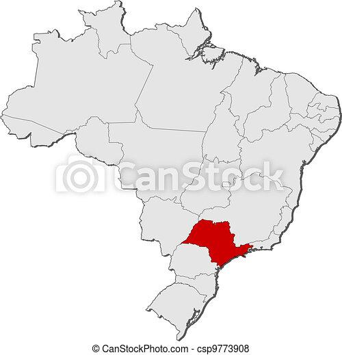 Paulo Landkarte Hervorgehoben Sao Brasilien Brasilien