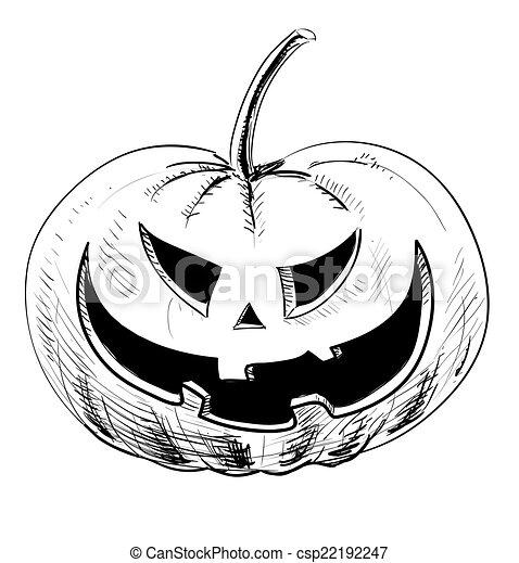 Pauroso halloween zucca male sorriso pauroso schizzo for Zucca di halloween disegno