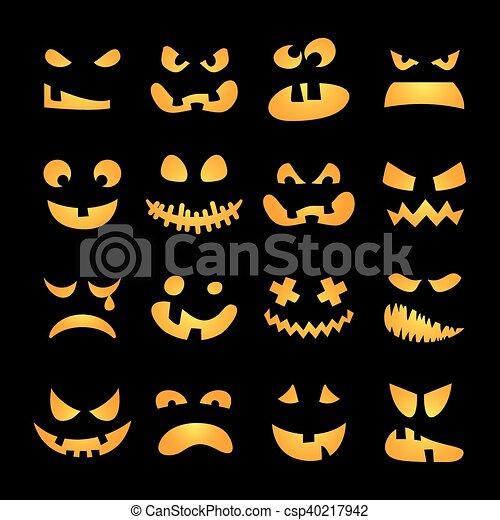 Pauroso, zucca, set, halloween, facce. Pauroso, set ...