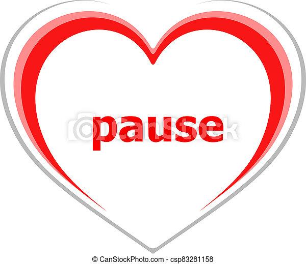 pausa, concepto, tiempo, word. - csp83281158