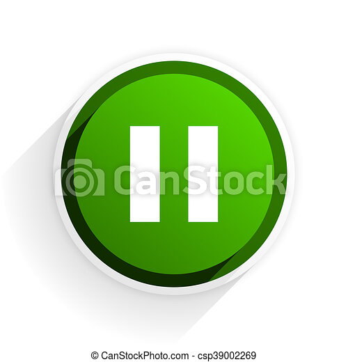 pause flat icon with shadow on white background, green modern design web element - csp39002269