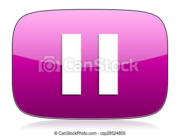 pause violet icon - csp28524805