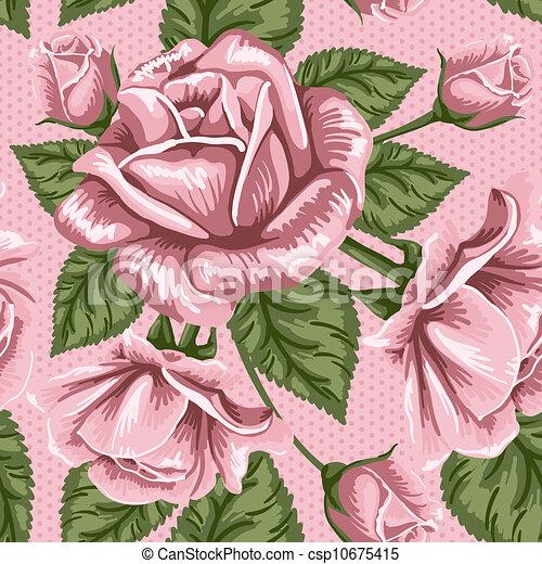 Patrón de flores sin costura, rosas - csp10675415