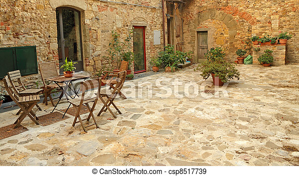 paved rustic terrace in Tuscany, Italy, Europe - csp8517739