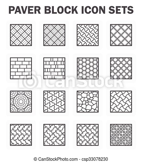 Paver block sets. Paver block and stone icon sets. vectors ...