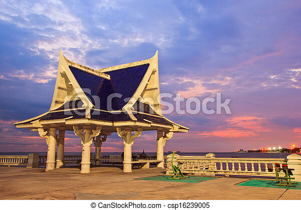 pavilion is located near the seaside,Thailand - csp16239005