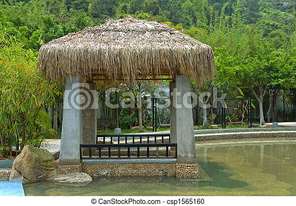 Pavilion with thatch roof - csp1565160