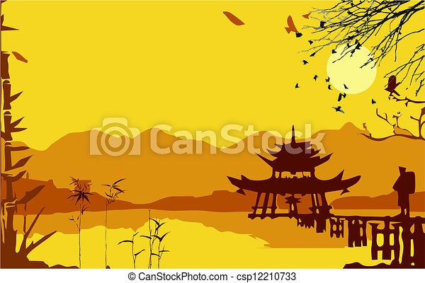 paviljoen, japanner, poorten, samurai - csp12210733
