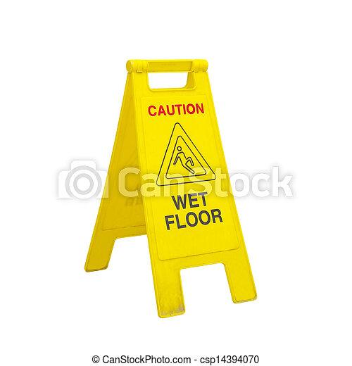 Pavimento bagnato, attenzione, segni. Stanza, ufficio,... foto ...