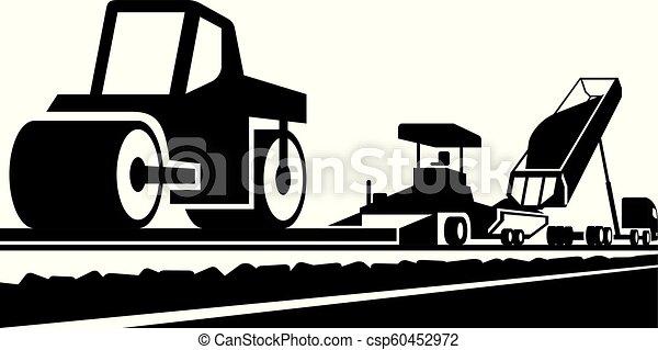 Poniendo un asfalto en un camino - csp60452972