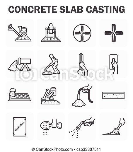 pavimento concreto, icone - csp33387511