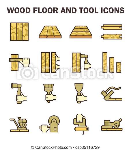 pavimento legno, icona - csp35116729