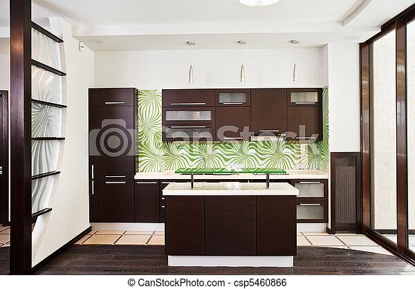 pavimento, legno, moderno, scuro interno, cucina