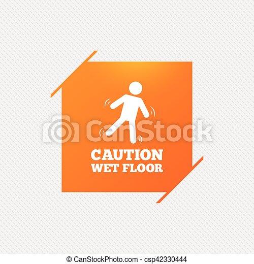 Pavimento, simbolo., attenzione, umano, bagnato, icon.,... vettore ...