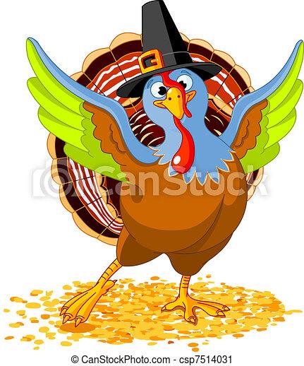 Feliz pavo de Acción de Gracias - csp7514031